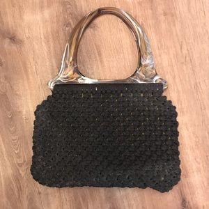 Vintage Large Lucite handle macrame purse bag